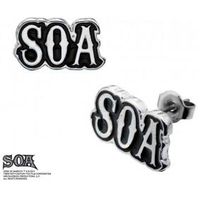 boucle d'oreille pour homme marque Sons of Anarchy en acier chirurgical logo SOA