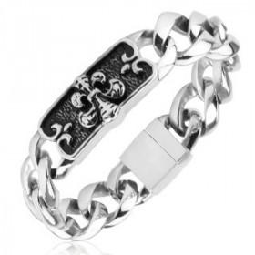 Bracelet gourmette pour homme en acier inoxydable motif fleur de lys