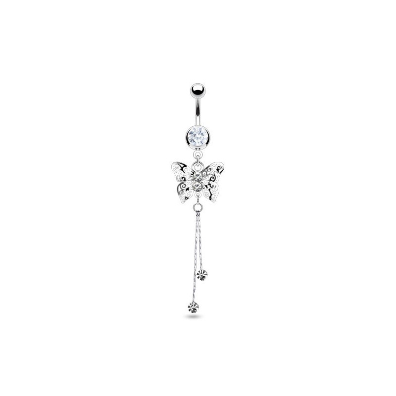 Piercing nombril en acier chirurgical long pendentif motif papillon cristal de couleur blanc