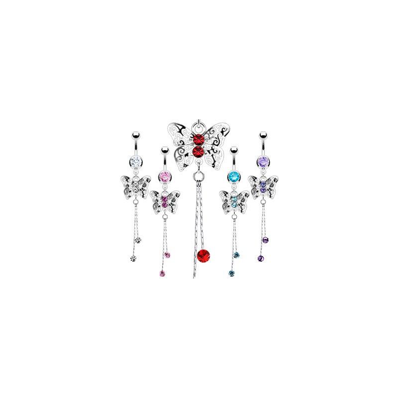 Piercing nombril en acier chirurgical long pendentif motif papillon cristal de couleur