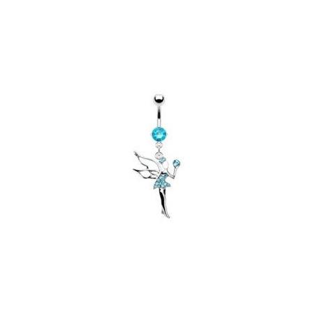 Piercing nombril fée clochette cristal turquoise