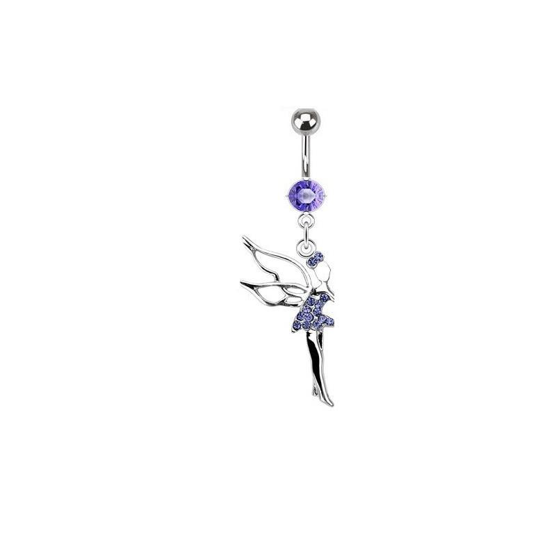 Piercing nombril en acier chirurgical haute qualité pendentif fée clochette cristal Violet