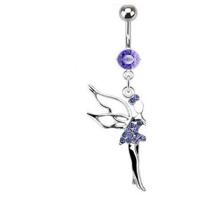 Piercing nombril fée clochette cristal Violet