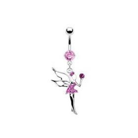 Piercing nombril en acier chirurgical haute qualité pendentif fée clochette cristal rose