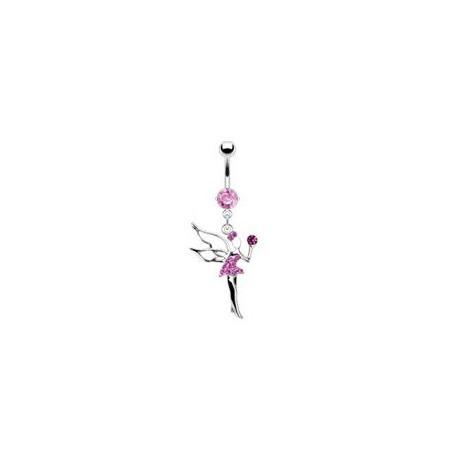 Piercing nombril fée clochette cristal rose