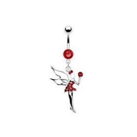 Piercing nombril en acier chirurgical haute qualité pendentif fée clochette cristal rouge