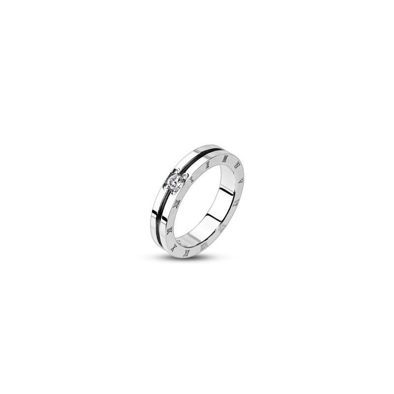 Bague anneau femme acier chirurgical inoxydable chiffre romain strass