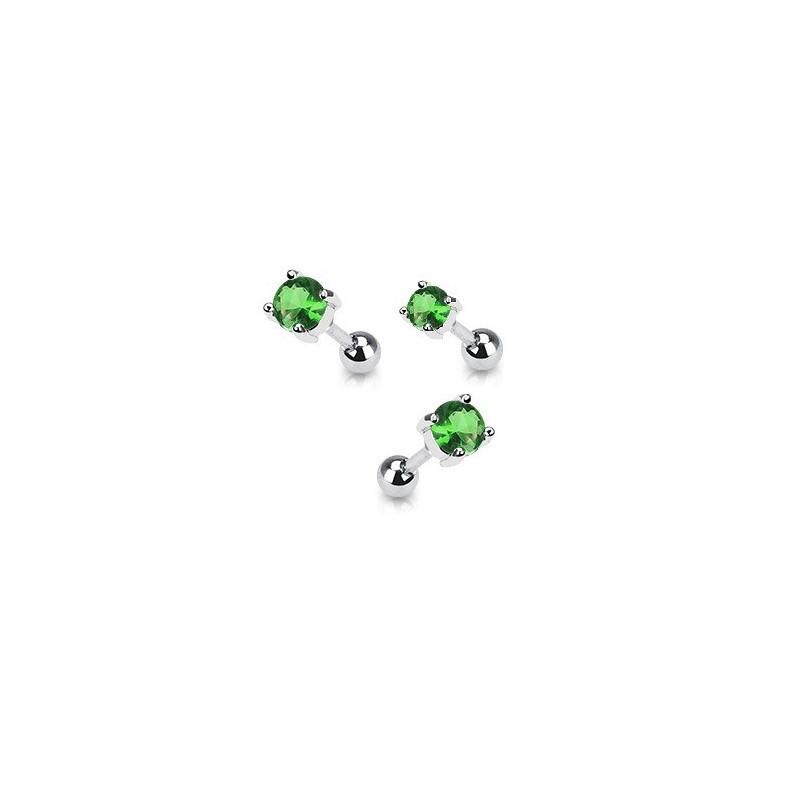 Piercing oreille en acier chirurgical motif cristal rond oxyde zirconium couleur vert solitaite pour piercing tragus et hélix