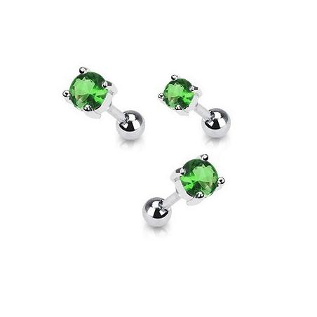 Piercing oreille acier cristal rond couleur vert