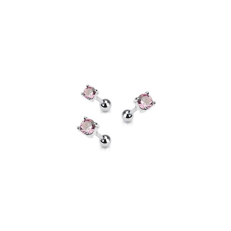 Piercing oreille en acier chirurgical motif cristal rond oxyde zirconium couleur rose solitaite pour piercing tragus et hélix
