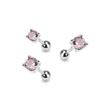 Piercing oreille acier cristal rond couleur rose