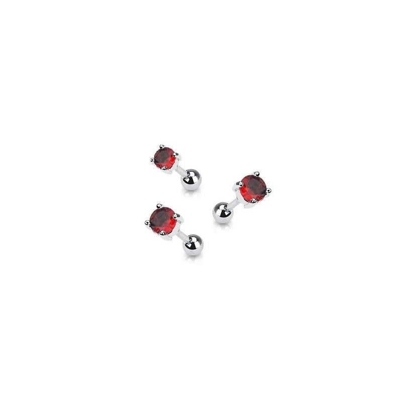 Piercing oreille en acier chirurgical motif cristal rond oxyde zirconium couleur rouge solitaite pour piercing tragus et hélix