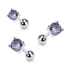 Piercing oreille en acier chirurgical motif cristal rond oxyde zirconium couleur violet solitaite pour piercing tragus et hélix