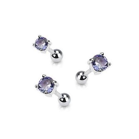 Piercing oreille acier cristal rond couleur violet