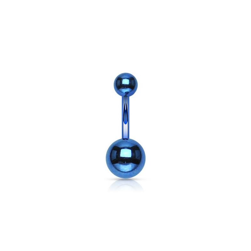 Piercing nombril double bille en titane anodisé de couleur bleu