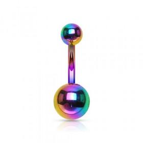 Piercing nombril double bille en titane anodisé de couleur arc en ciel