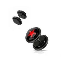 Piercing oreille faux plug noir logo étoile rouge pas cher