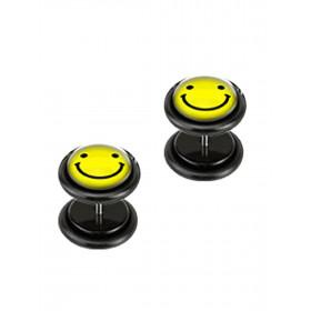 Piercing oreille faux plug noir logo smiley jaune pas cher