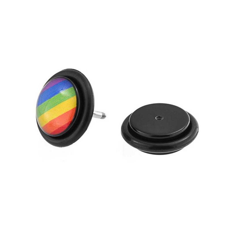 Piercing oreille faux plug noir logo gay pride jaune pas cher
