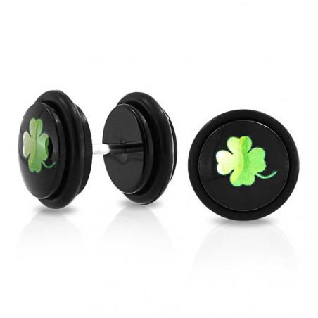 Piercing oreille faux plug noir logo trèfle quatre feuilles