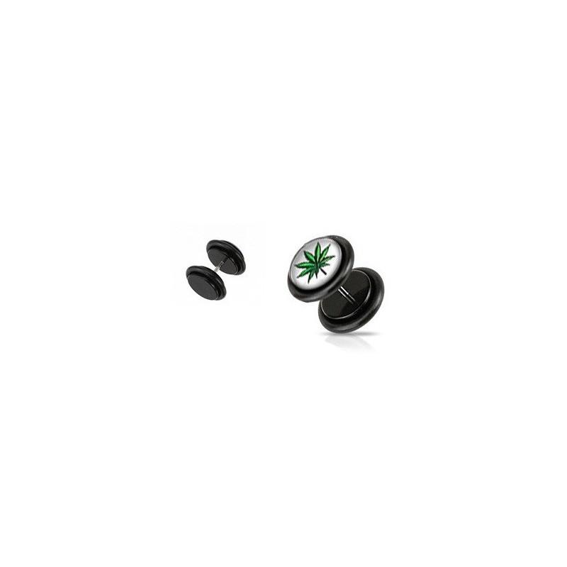 Piercing oreille faux plug noir logo rasta feuille de cannabis pas cher