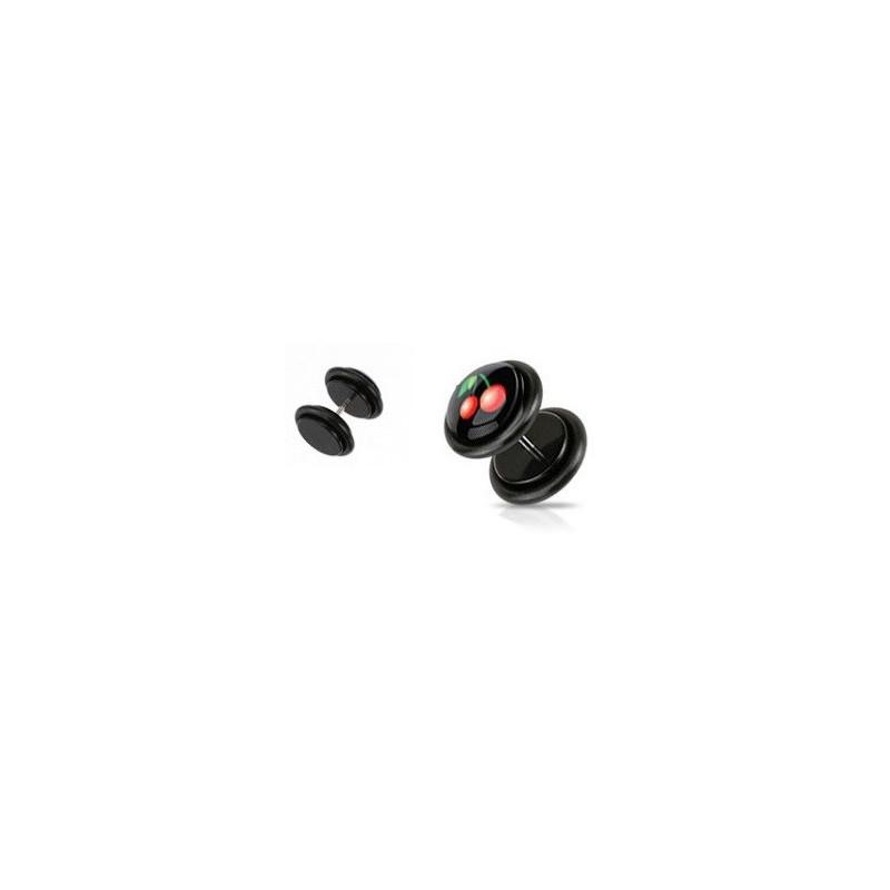 Piercing oreille faux plug noir logo cerise ibiza pas cher