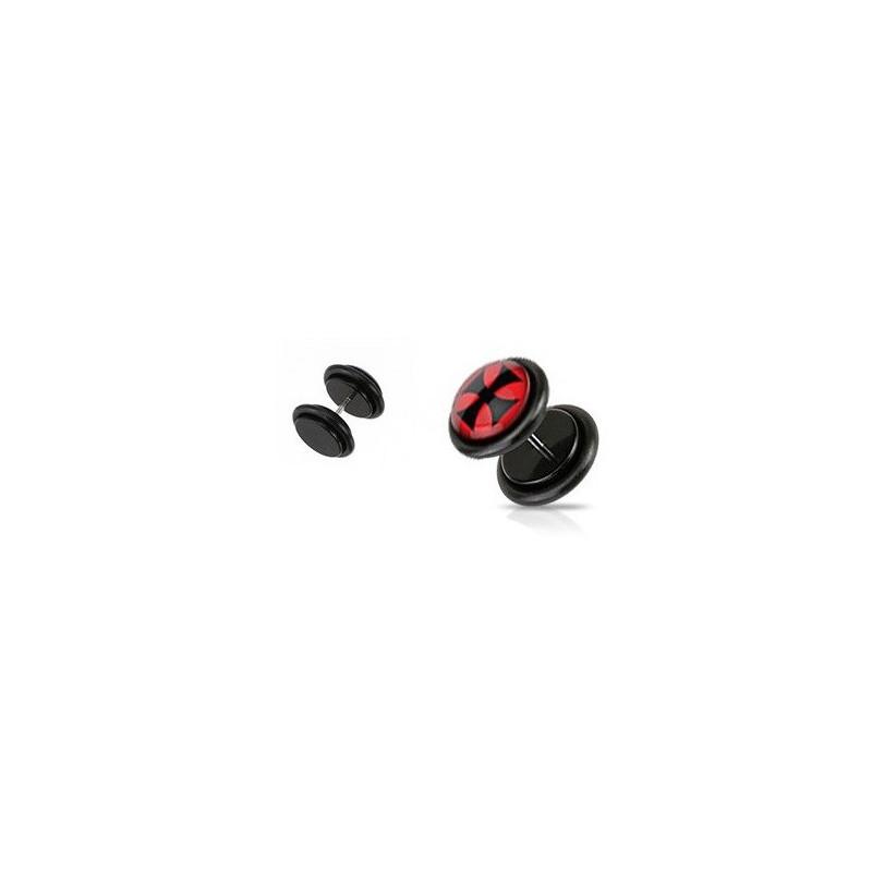 Piercing oreille faux plug noir logo croix de malte chopper pas cher