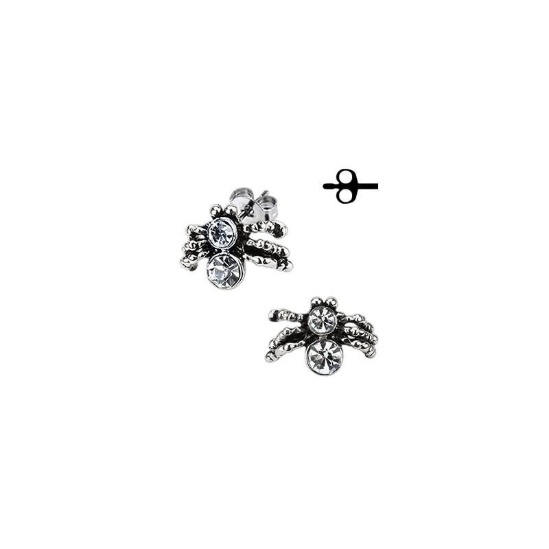 Boucles d'oreille homme et femme en acier chirurgical motif araignée mygale pas cher