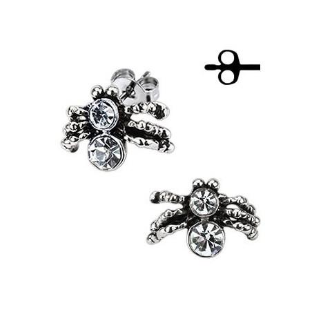 Boucles d'oreille acier motif araignée