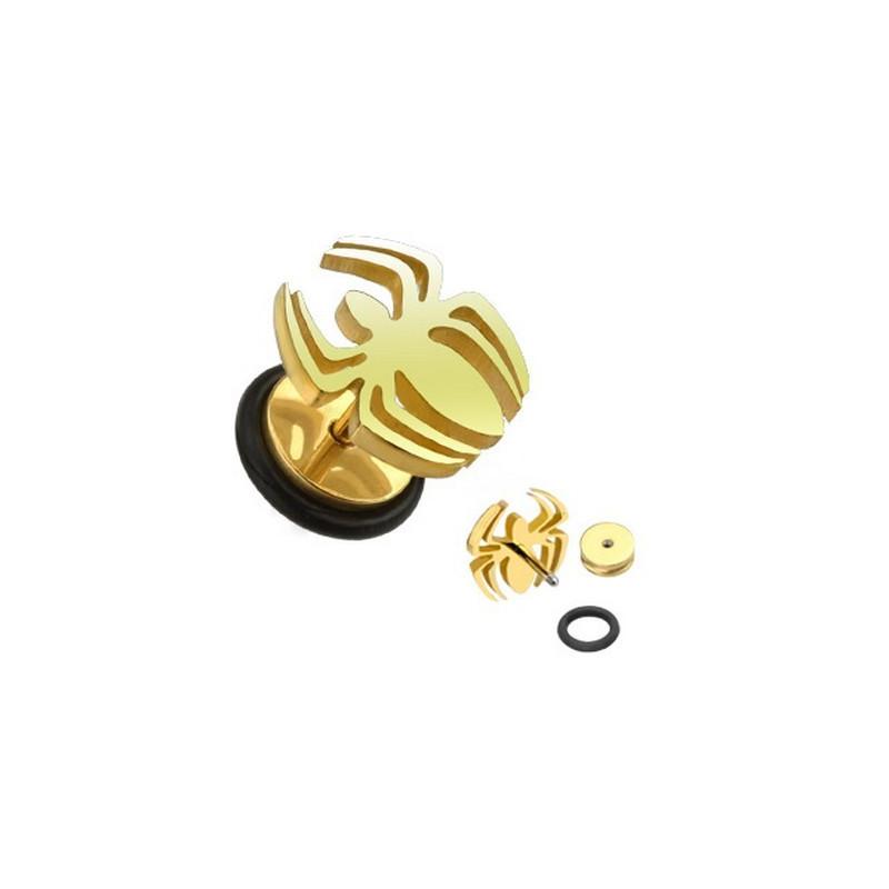 Piercing oreille faux écarteur motif araignée mygale doré en acier chirurgical couleur or