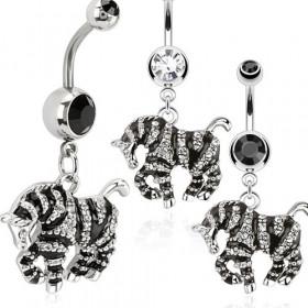 Piercing nombril acier chirurgical pendentif zèbre rayure noir et blanc pas cher