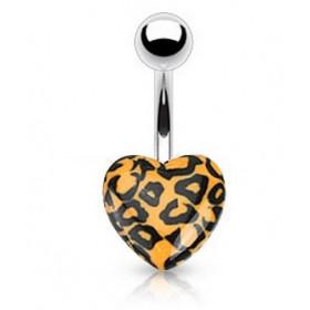 Piercing nombril coeur acrylique fluo de couleur orange motif léopard pas cher