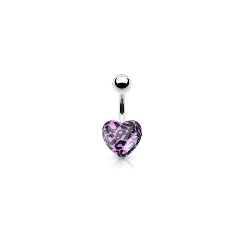 Piercing nombril coeur acrylique fluo de couleur violet motif léopard pas cher