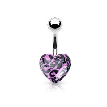 Piercing nombril coeur violet acrylique motif léopard