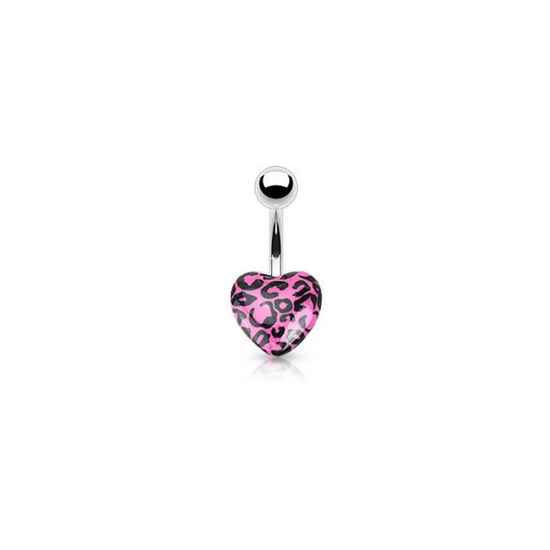 Piercing nombril coeur acrylique fluo de couleur rose motif léopard pas cher