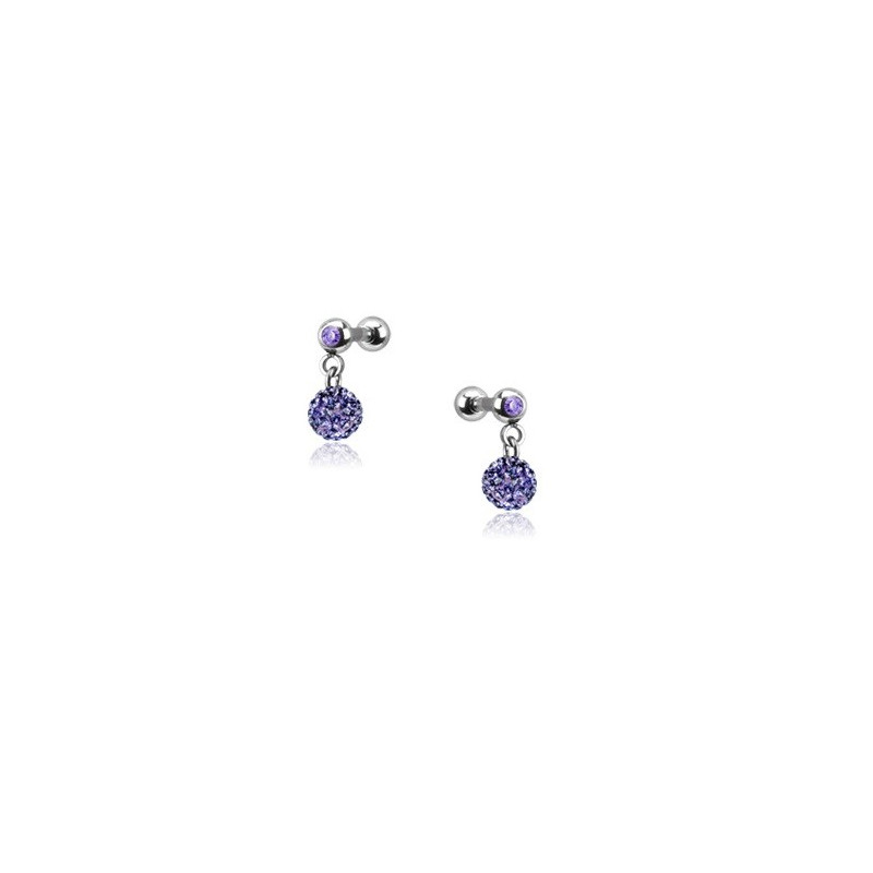 Piercing oreille acier chirurgical pendentif bille multi strass couleur violet pas cher