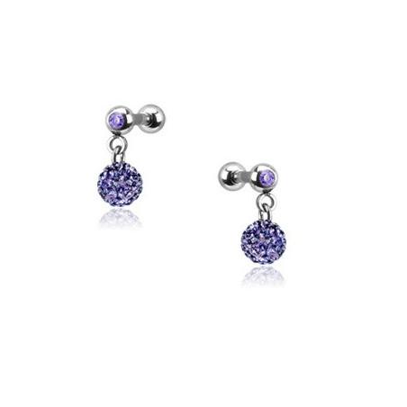 Piercing oreille pendentif bille strass violet