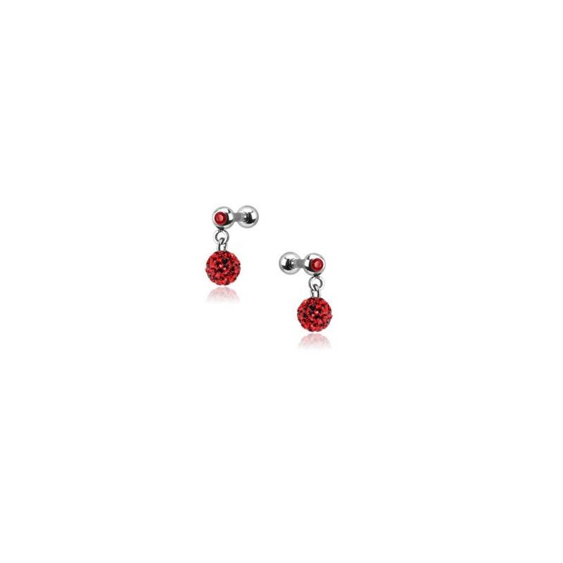 Piercing oreille acier chirurgical pendentif bille multi strass couleur rouge pas cher