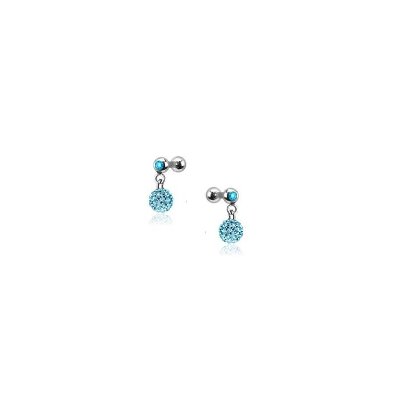 Piercing oreille acier chirurgical pendentif bille multi strass couleur bleu turquoise pas cher