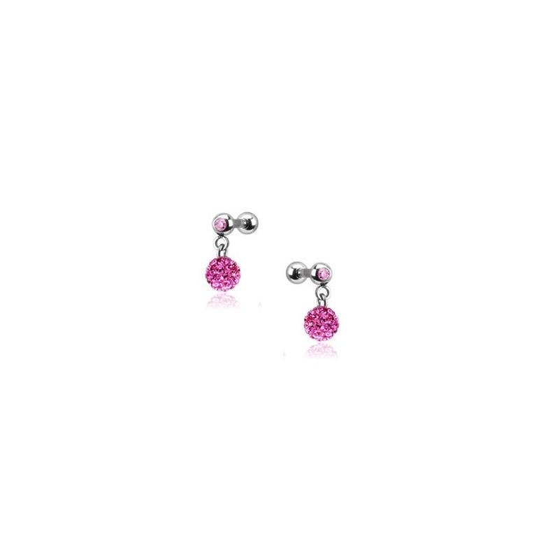 Piercing oreille acier chirurgical pendentif bille multi strass couleur rose pas cher