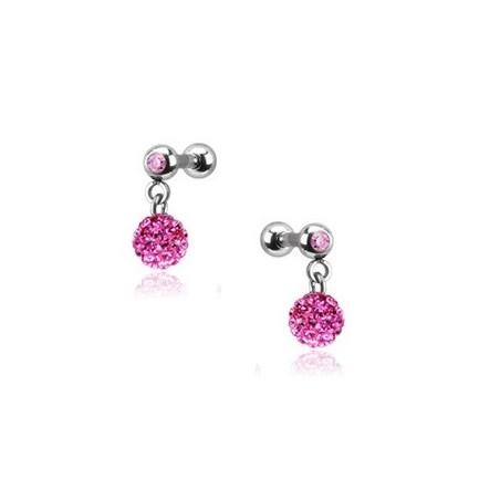Piercing oreille pendentif bille strass rose