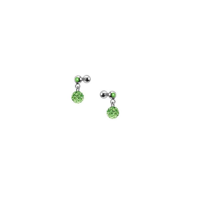 Piercing oreille acier chirurgical pendentif bille multi strass couleur vert pas cher