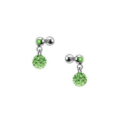 Piercing oreille pendentif bille strass vert