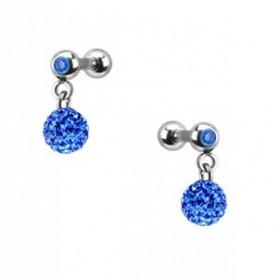 Piercing oreille acier chirurgical pendentif bille multi strass couleur bleu pas cher