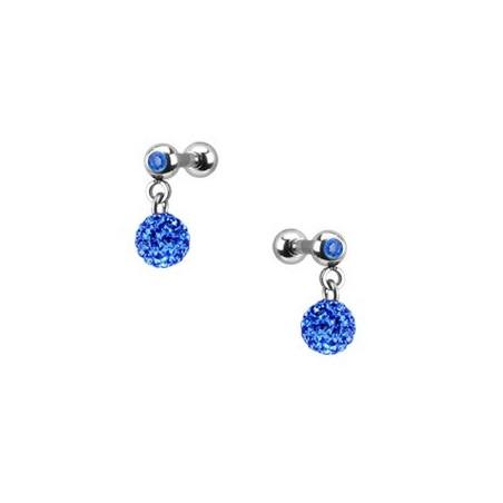 Piercing oreille pendentif bille strass bleu