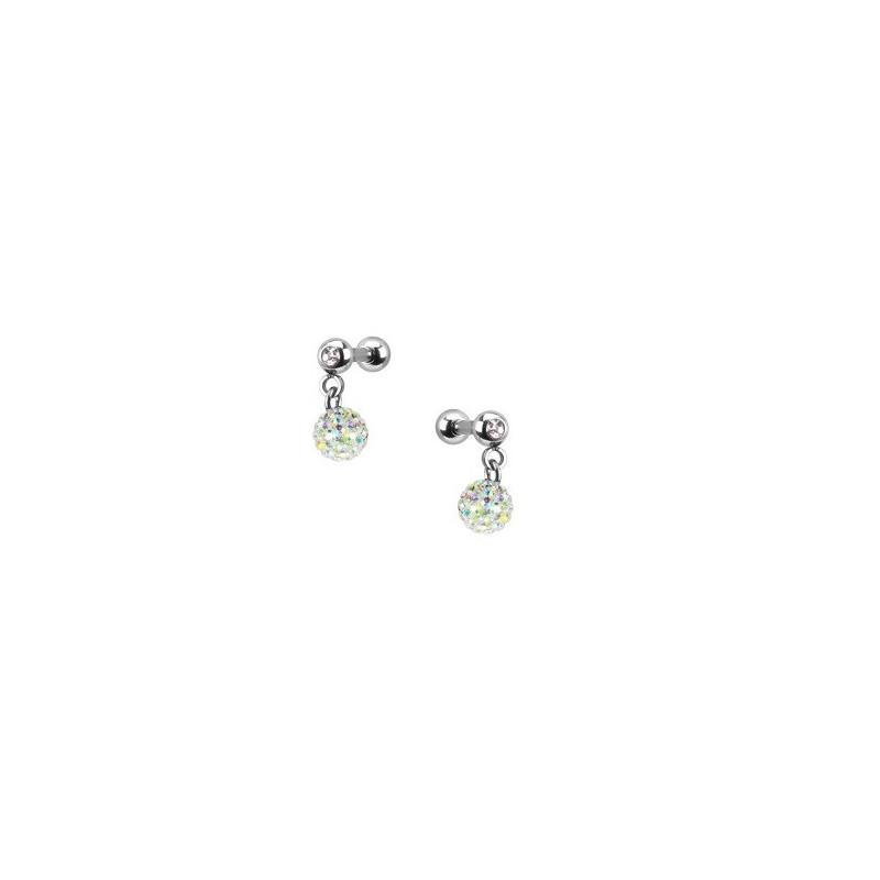 piercing oreille pendentif bille strass blanc iris tarawa piercing. Black Bedroom Furniture Sets. Home Design Ideas