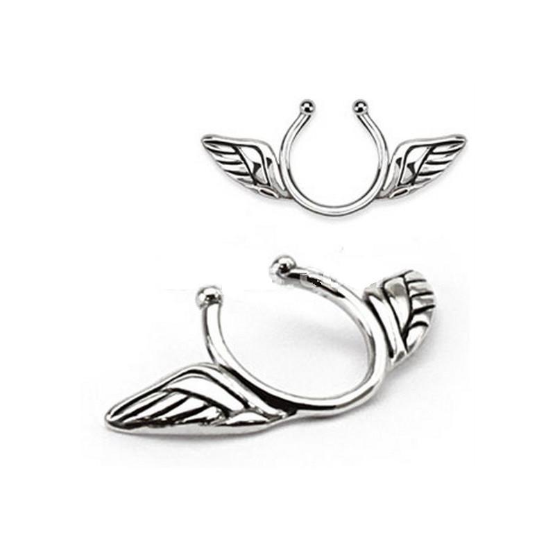 Faux piercing téton motif ailes d'anges pas cher couleur acier