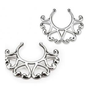 Faux piercing téton motif multi coeur pas cher couleur acier