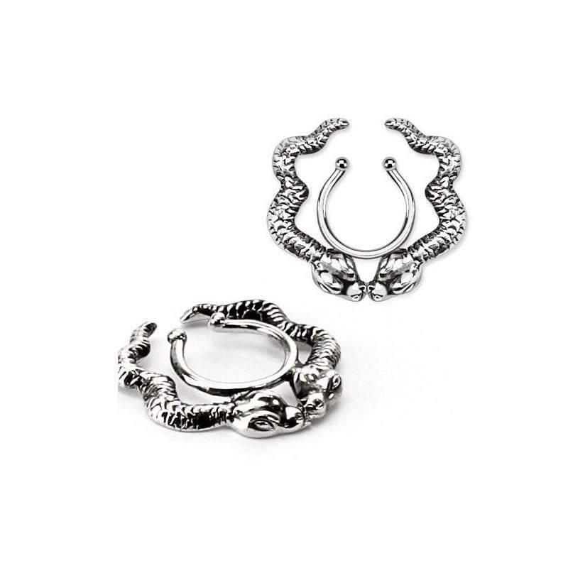 Faux piercing téton motif double serpent pas cher couleur acier