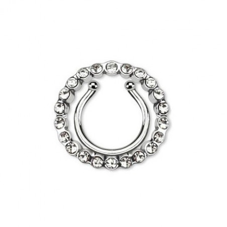 Faux piercing téton contour multi strass blanc